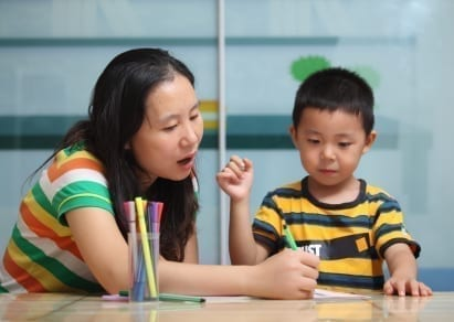 chinese family studying