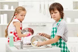 Grumpy Children Doing Dishes