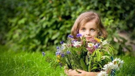 Girl with flower bouquet