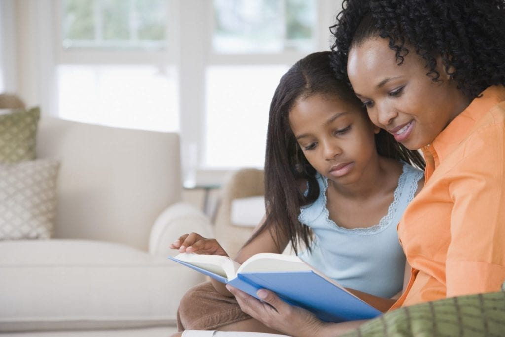 Mother reading to daughter on couch
