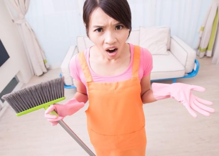 angry teen girl chores